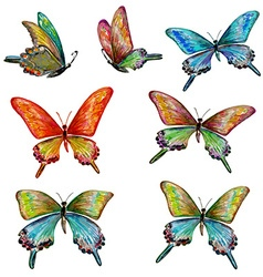 Collection of cute butterflies watercolor painting vector
