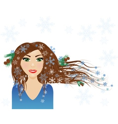 Winter female character vector