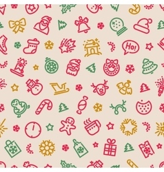 Christmas symbols seamless pattern colorful vector
