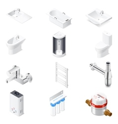 Sanitaru engineering detailed isometric icon set vector