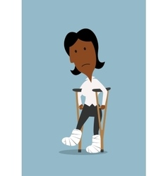 Unhappy businesswoman walking on crutches vector