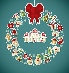 Christmas of wreath with stickers vector