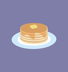 Pancakes with maple syrup and butter vector