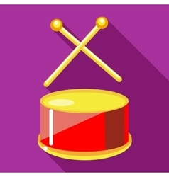 Toy drum with drumsticks icon flat style vector