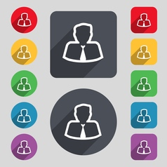 Avatar icon sign A set of 12 colored buttons and a vector image vector image