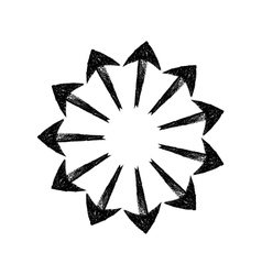 Black grungy arrows located in a circle like rays vector image vector image