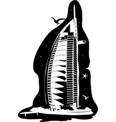 Burj Al Arab silhouette vector image vector image