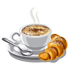 Cappuccino coffee and croissant vector