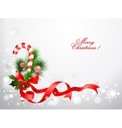 Christmas background with candy cane vector image