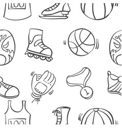 Collection sport equipment doodle style vector