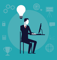 Color background with executive man sitting in vector