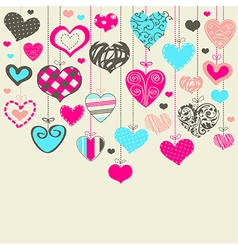 Colorful background with hearts vector image