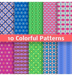 Colorful seamless patterns tiling vector image