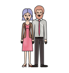 couple in colored crayon silhouette and her with vector image