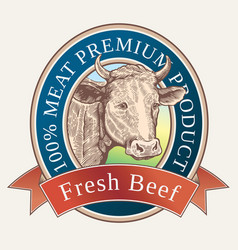 cow head in label vector image vector image