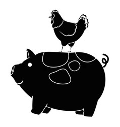 farm pig and hen vector image