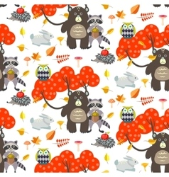 Forest cartoon animals autumn white seamless vector image vector image