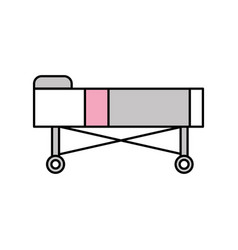 Hospital bed with pillow and wheels vector