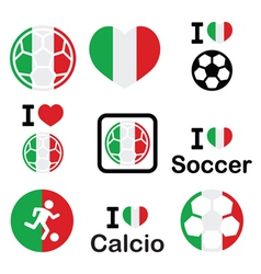I love italian football soccer icons set vector