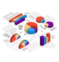 Isometric circlular graph infographics vector