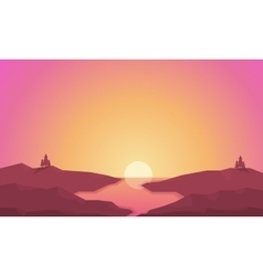 Landscape hills and river at sunrise silhouettes vector