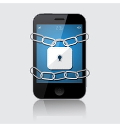 Locked Smartphone Isolated on Grey Backgroun vector image vector image