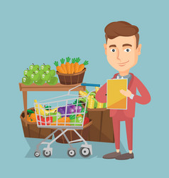 Man with a shopping list vector