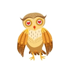 Owl In Love Cute Cartoon Character Emoji With vector image