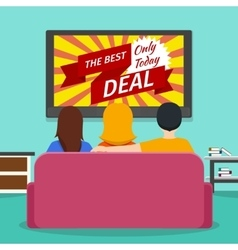 People watching advertising on television vector image