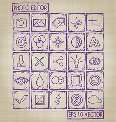 Photo Editor Icon Doodle Set vector image vector image
