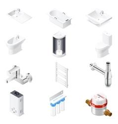 Sanitaru engineering detailed isometric icon set vector