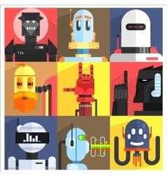 Set of different cartoon robots vector