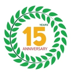 Template Logo 15 Anniversary in Laurel Wreath vector image