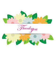 Thank you with flower decoration vector