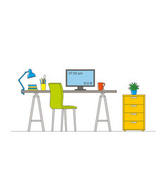thin line of interior equipment of a workstation vector image vector image