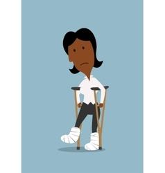 Unhappy businesswoman walking on crutches vector