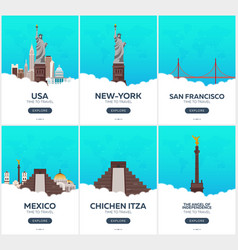usa mexico time to travel set of travel posters vector image