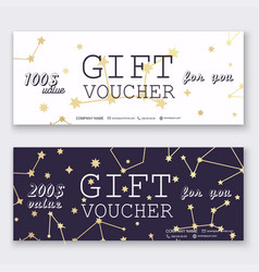 voucher template with gold gift box certificate vector image vector image