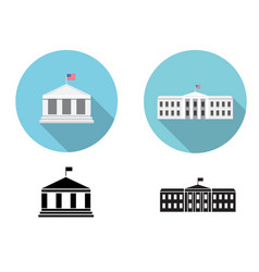 White house icons in flat and silhouette style vector