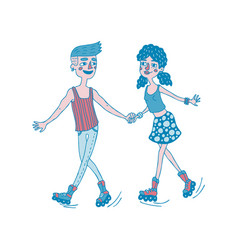 young couple roller skating together vector image vector image