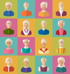 Old people of faces of women and men of grey vector