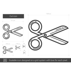 Cut line icon vector