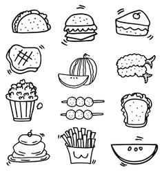 Doodle of food element set vector
