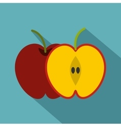 Red apple icon flat style vector