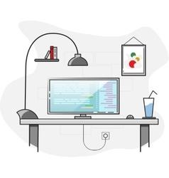 Flat design creative office desktop workspace vector