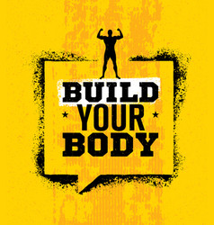 Build your body inspiring workout and fitness gym vector