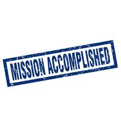 Square grunge blue mission accomplished stamp vector