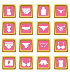 underwear items icons pink vector image
