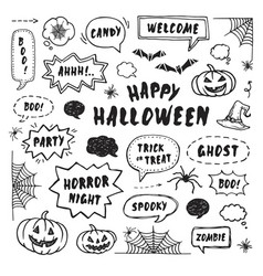 happy halloween design elements vector image