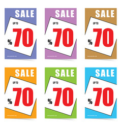 Poster of sale 70 percent set in color design vector